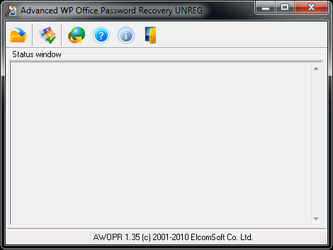 Advanced WordPerfect Office Password Recovery Main Window