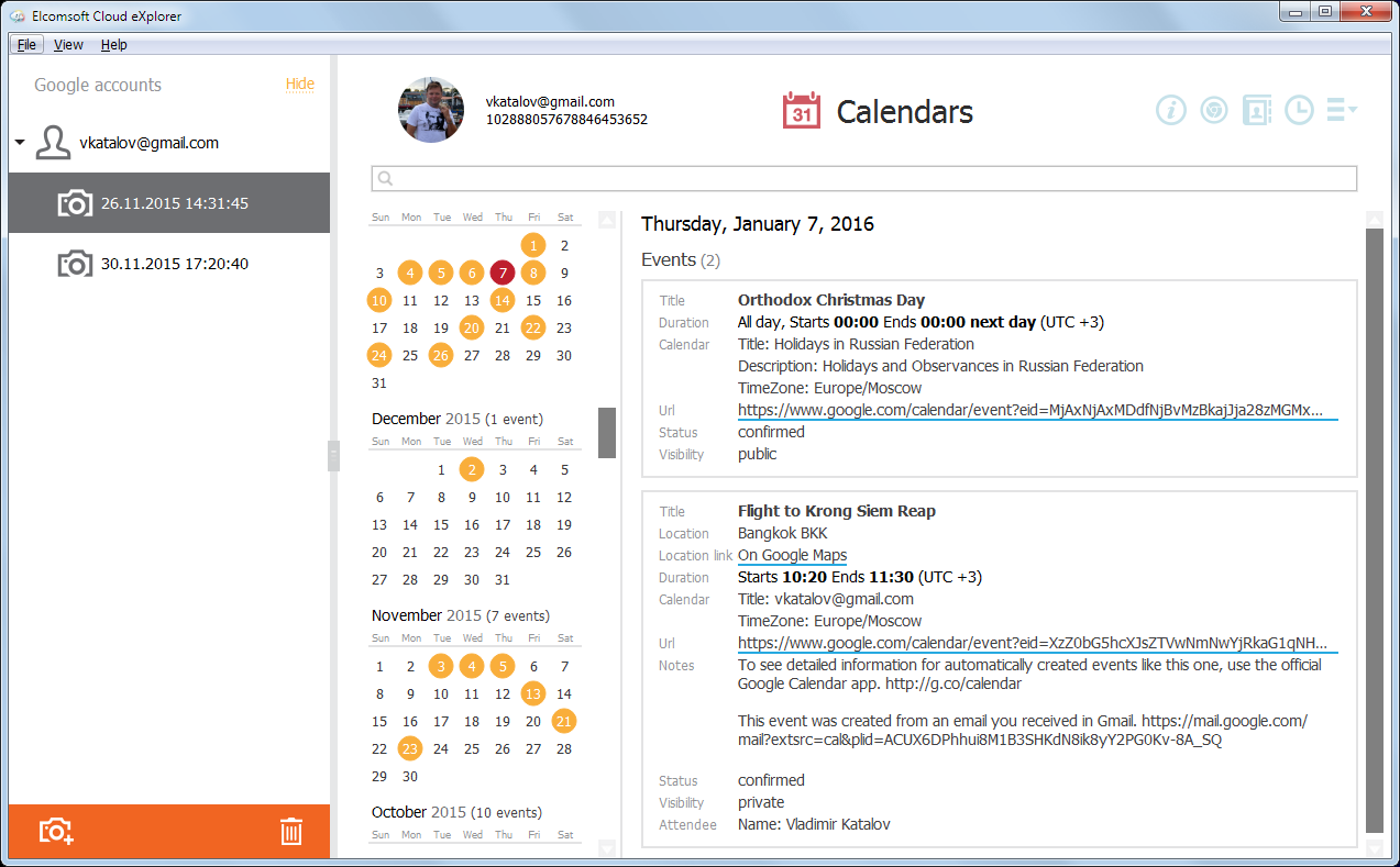 Elcomsoft Cloud Explorer: Calendars